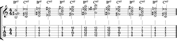 C forminsket skala opp og ned med forminskede akkorder fra skalaen