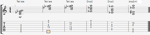 Cdim7-akkord i noter. Viser samme akkorden i tett leie i forskjellige strengsett på gitarhalsen, og i spredd leie som drop2, drop3, og drop2+4
