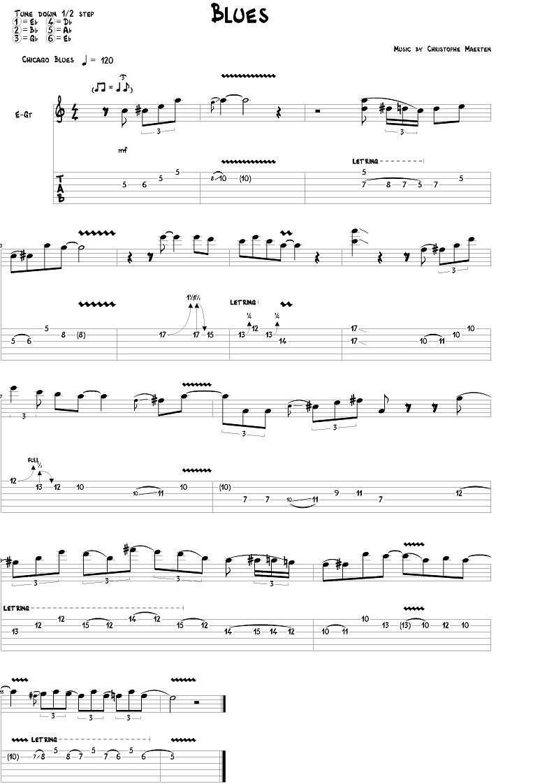 Bilde av et tabulatur som følger med i Guitar Pro 6. PS: Bildet er litt uklart. Det ser bedre ut i programmet.